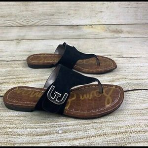 Black Barry V-Strap Thong Sandal